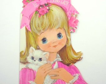 Vintage Children's Novelty Valentine Greeting Card with Adorable Little Girl in Pink Holding White Kitten Cat by Hallmark