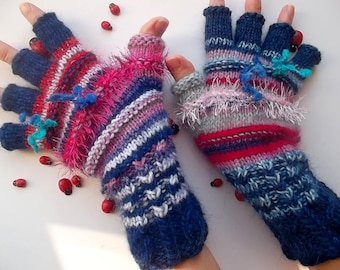 Women Size M 20% OFF Ready To Ship OOAK Half Fingers Wool Accessories Mittens Wrist Warmers Gloves Winter Hand Knitted Multicolor Striped 28