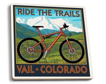Vail, CO Ride the Trails, Mountain Bike LP Artwork (Set of 4 Ceramic Coasters)