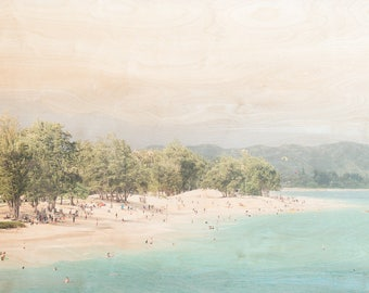 Hawaii Beach, 'As Far As It Goes' Fine Art Photography, Limited Edition, Image Transfer on Wood Panel by Patrick Lajoie, swimmers, summer