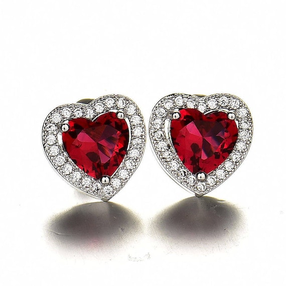 Beautiful 18 ct white gold filled garnet crystal heart shaped stud earrings