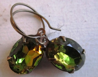 Olivine Topaz Earrings. Two Toned Green and Gold Earrings. Rhinestone Drop Jeweled Earrings with Circular Ear Wires