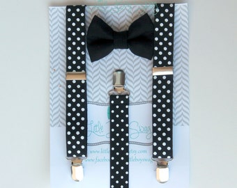 Black Bow Tie And Suspenders, Boy Tie Suspenders for Boys To Adult, First Birthday Boy, Cake Smash Outfit, Ring Bearer Outfit, Boys Formal