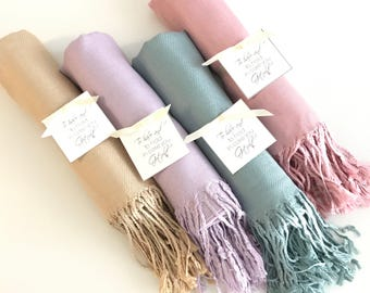 Pashmina 9pc - Personalized shawl - Bridesmaids gifts - Wedding favors - Customized scarves