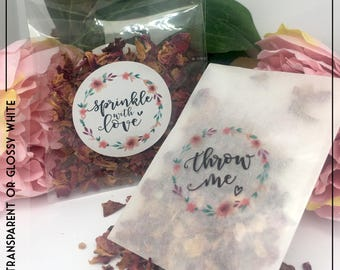 Throw Me Foil Transparent or Gloss Stickers x 24 round label in Can Personalise Confetti | Wedding | Favours | Floral | Birthday | Hen