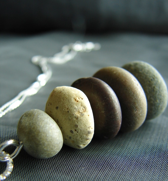 Cairn beach pebble necklace in earth tones