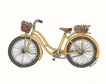 Teacher Bike - Watercolor Print - Art Print - Vintage Bike Art - School Bike - Yellow Bike - Yellow Bike