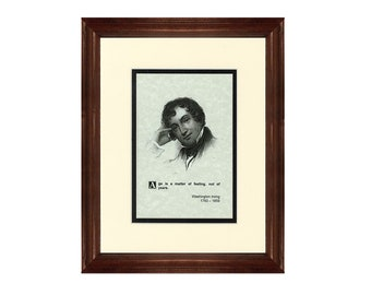 Print and Quotation of Washington Irving with Mat and Frame