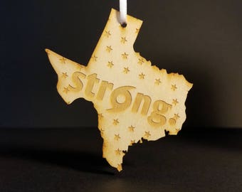 TEXAS Strong Ornament, laser cut acrylic & wood ornaments
