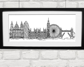 London skyline print in mount - Black and white London landmarks landscape print - Art print - London present - Capital city - new home