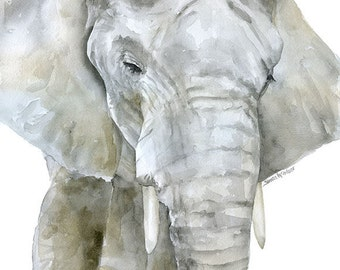 Elephant Watercolor Painting Print - 11 x 14 - Giclee Reproduction - African Animal - Safari