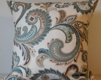 Decorative Envelope Style Pillow Cover, in Shades of Beige, Brown, and Teal Blue