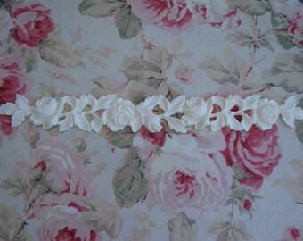 "Antique Roses & Leaves Moulding Trim 17 3/4"" Furniture Applique Architectural Onlay"
