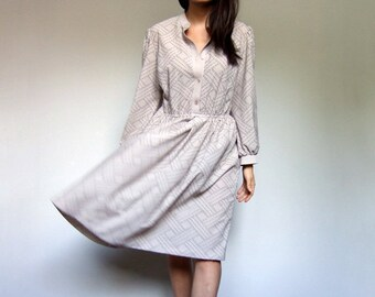 Simple Beige Dress 70s Long Sleeve Button Up Vintage Casual Day Dress - Large L