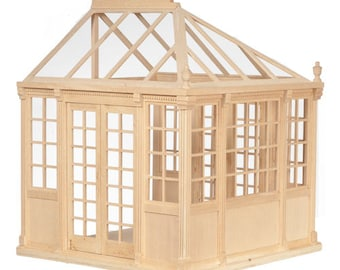 Built & Ready to Decorate, Unpainted, Dollhouse Miniature Greenhouse, C'est Elle, Scale One Inch