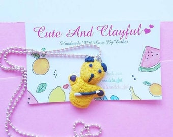 Cute Handmade Polymer Sooty Charm With Wand Necklace
