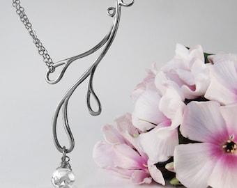 Teardrop Necklace, Sterling Silver, Handcrafted, White Crystal Gemstone, Japanese Garden, Elegant. HAMA RIKYU NECKLACE with White Quartz.