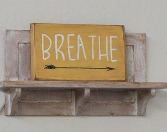 custom boho home decor, boho wall art, boho sign, hippie decor, breathe with arrow