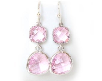 Crystal Pink Earrings Silver Pink Earrings Crystal Blush Earrings Pink bridesmaids earrings Pink Jewelry Pink Double Tier Earrings