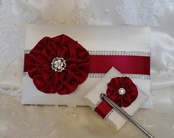 Wedding Guest Book, Pen Set, Baptism Guest Book, White with Apple Red Flowers and Rhinestone Mesh Trim