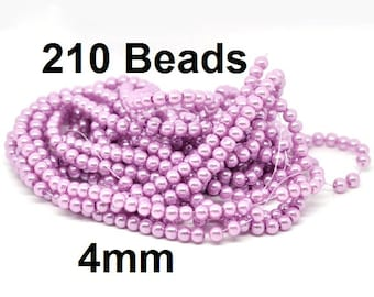 4mm Mauve Violet Glass Pearl Imitation Round Beads - 32 inch strand