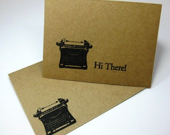 Thank You Card Set - Vintage RetroTypewriter Cards - Hi There Hand Stamped Card - Eco-Friendly Note Cards and Envelopes
