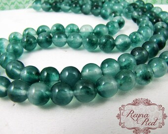 Evergreen Dyed Jade Smooth Round Beads, jade beads, round beads, dyed jade, two tone, dyed gemstone beads - reynaredsupplies