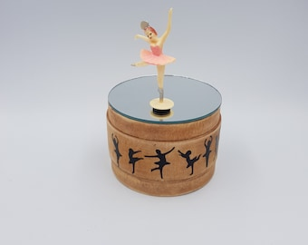 awesome wooden music box dancing ballerina rotating mirror vintage HOME MADE