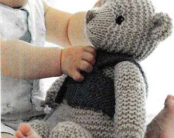 PDF Vintage Cute Teddy Bear Knitting Pattern – Vintage, Retro, Teddy Bear - PDF instant download