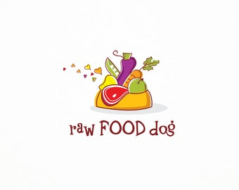 50% OFF SALE Premade Raw Food for Dogs Logo, Vegetables Logo, Pet Care Business Logo, Pet Health Logo, Shelter Logo, Dog Care Logo