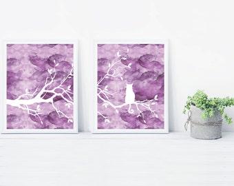 Purple Cat Tree Wall Art Print Set of Two Prints - Watercolor