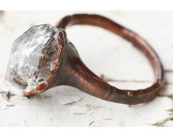 Unique Engagement Ring, Promise Ring for Her: stone promise ring alternative quartz wedding rings, raw quartz ring quartz crystal ring april