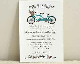 A Bicycle For Two / Wedding Invitation/ DIY Printable PDF Template / Digital Download