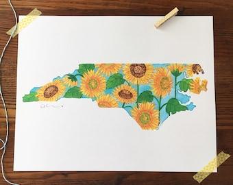 Sunflower Art. Sunflower painting. Watercolor sunflowers. NC Art Print. Home Decor. Gift Under 30. 11x14 Art Print. North Carolina Art