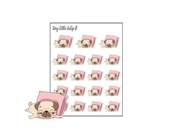 Planner Stickers Pug Sleeping/Nap/Lazy Day