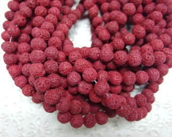 Natural Lava Beads, Full Strand 15.5 inch, Round Red Color Volcanic Rock, 8mm 10mm 12mm