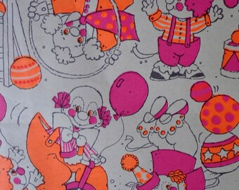 Vintage 1970s Gift Wrap  Corny Clowns Print Wrapping Paper--2 Sheets