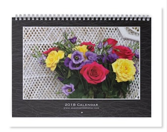 2018 Wall Calendar, Floral Wall Calendar 2018, Floral Photography, Wall Decor, 2018 Calendar, Photo Calendar, Wall Calendar 2018