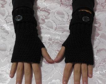 Black Wool fingerless Gloves