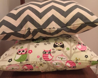 Pillow Cover/ Shabby Chic Pillow Cover/ Owl Pillow Covers/ 2 Pillow Covers/ Handmade Pillow Covers/ Chevron Print