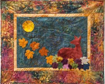 Deer Folk Art Quilt Pattern Wool Applique