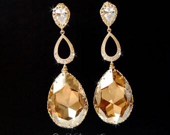 Chandelier Wedding Earrings,  Wedding Jewelry,  Bridal Accessories, Swarovski Crystal Large Drop Earrings - Chantilly In Gold