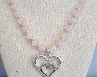 Beautiful Rose Quartz necklace with heart pendant!