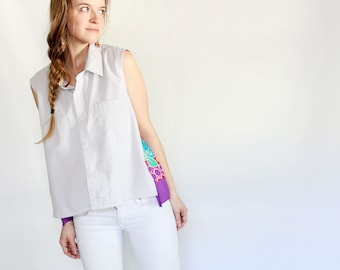 Eco Friendly Sleeveless collared button down shirt breezy spring top floral bright color blocked upcycled vintage shirt unique clothing