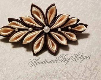 Kanzashi ribbon flower french barrette