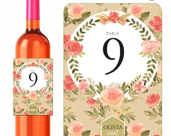 Wedding Wine Labels Table Numbers Shabby Floral Roses Designer Labels Waterproof Vinyl