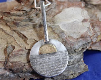 Attention Grabbing Sterling Silver Pendant with Brass Overlay (090817-008)