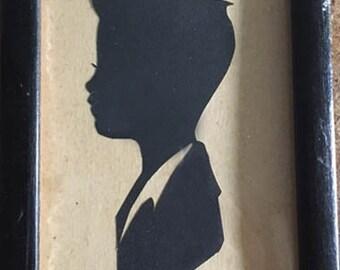 Vintage Photograph Silhouette Little Boy  1930s