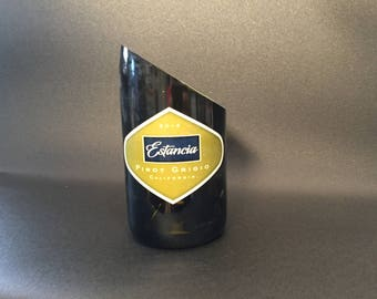 HandCrafted Candle Up Cycled Estancia Pinot Grigio Wine Bottle Soy Wax Candle- Angle Cut
