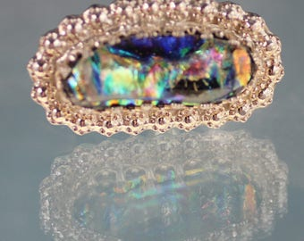 Silver ring with dichroic glass